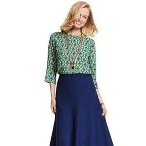 Cabi Jade Green Leaf Print Blouse Style 3069